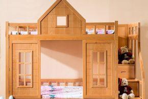 Детская в виде домика det96081 по индивидуальным размерам на заказ, материалы из массива дерева лдсп мдф расцветка — коричневый интернет магазине mebelblok.ru