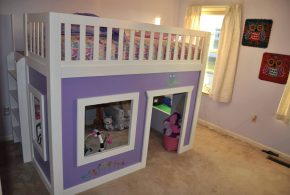 Детская в виде домика det38209 по индивидуальным размерам на заказ, материалы из лдсп мдф расцветка — фиолетовый белый интернет магазине mebelblok.ru