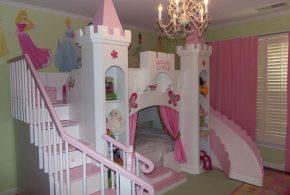Детская в виде замка det56225 по индивидуальным размерам на заказ, материалы из лдсп мдф расцветка — разноцвет белый розовый интернет магазине mebelblok.ru