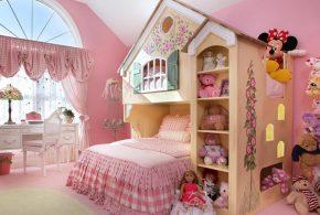 Детская в виде домика det50053 по индивидуальным размерам на заказ, материалы из лдсп мдф расцветка — разноцвет коричневый бежевый розовый интернет магазине mebelblok.ru