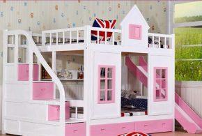 Детская в виде домика det49914 по индивидуальным размерам на заказ, материалы из лдсп мдф расцветка — белый розовый интернет магазине mebelblok.ru
