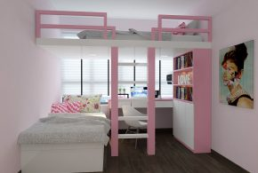 Детская функциональная det14335 по индивидуальным размерам на заказ, материалы из лдсп мдф расцветка — белый розовый в интернет магазине mebelblok.ru