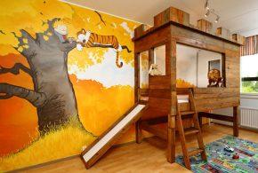 Детская в виде замка det90436 по индивидуальным размерам на заказ, материалы из массива дерева лдсп мдф расцветка — коричневый интернет магазине mebelblok.ru