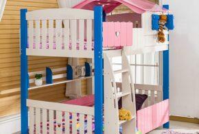 Детская в виде домика det82884 по индивидуальным размерам на заказ, материалы из лдсп мдф расцветка — синий разноцвет белый розовый интернет магазине mebelblok.ru