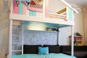 Детская в виде домика det72691 по индивидуальным размерам на заказ, материалы из лдсп мдф расцветка — голубой разноцвет белый розовый интернет магазине mebelblok.ru