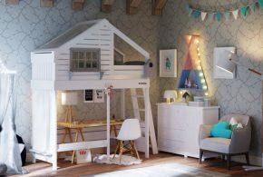 Детская в виде домика det36071 по индивидуальным размерам на заказ, материалы из лдсп мдф расцветка — белый серый интернет магазине mebelblok.ru