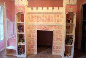 Детская в виде замка det92247 по индивидуальным размерам на заказ, материалы из лдсп мдф расцветка — белый розовый интернет магазине mebelblok.ru