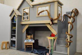 Детская в виде домика det20384 по индивидуальным размерам на заказ, материалы из лдсп мдф расцветка — бежевый серый интернет магазине mebelblok.ru