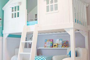 Детская в виде домика det98154 по индивидуальным размерам на заказ, материалы из лдсп мдф расцветка — голубой белый интернет магазине mebelblok.ru
