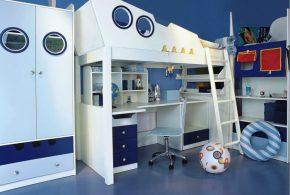 Детская в виде корабля det95754 по индивидуальным размерам на заказ, материалы из лдсп мдф расцветка — синий белый интернет магазине mebelblok.ru