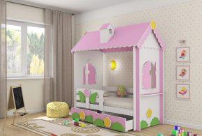 Детская в виде домика det78446 по индивидуальным размерам на заказ, материалы из лдсп мдф расцветка — жёлтый зелёный разноцвет белый розовый интернет магазине mebelblok.ru