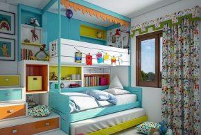 Детская в виде домика det57554 по индивидуальным размерам на заказ, материалы из лдсп мдф расцветка — голубой разноцвет коричневый белый интернет магазине mebelblok.ru