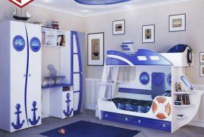 Детская в виде корабля det57746 по индивидуальным размерам на заказ, материалы из лдсп мдф расцветка — синий белый интернет магазине mebelblok.ru