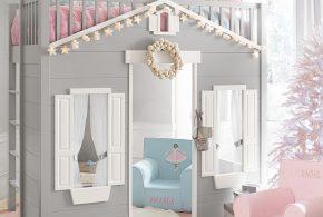 Детская в виде домика det94649 по индивидуальным размерам на заказ, материалы из лдсп мдф расцветка — белый серый интернет магазине mebelblok.ru