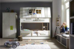 Детская в виде домика det72308 по индивидуальным размерам на заказ, материалы из лдсп мдф расцветка — белый серый интернет магазине mebelblok.ru