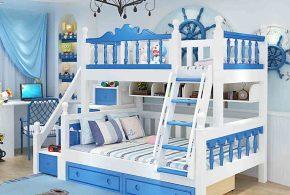 Детская в виде корабля det71036 по индивидуальным размерам на заказ, материалы из лдсп мдф расцветка — синий белый интернет магазине mebelblok.ru