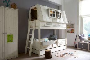 Детская в виде домика det66345 по индивидуальным размерам на заказ, материалы из лдсп мдф расцветка — белый серый интернет магазине mebelblok.ru