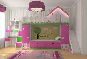 Детская в виде домика det73740 по индивидуальным размерам на заказ, материалы из лдсп мдф расцветка — зелёный разноцвет белый розовый интернет магазине mebelblok.ru