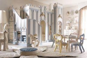 Детская в виде замка det77221 по индивидуальным размерам на заказ, материалы из лдсп мдф расцветка — белый серый интернет магазине mebelblok.ru