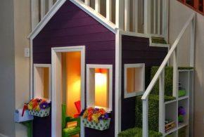 Детская в виде домика det93379 по индивидуальным размерам на заказ, материалы из лдсп мдф расцветка — фиолетовый белый интернет магазине mebelblok.ru