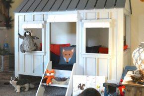 Детская в виде домика det87544 по индивидуальным размерам на заказ, материалы из лдсп мдф расцветка — белый серый интернет магазине mebelblok.ru