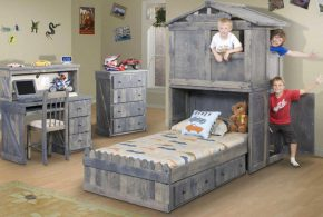 Детская в виде домика det18967 по индивидуальным размерам на заказ, материалы из массива дерева лдсп мдф расцветка — серый интернет магазине mebelblok.ru