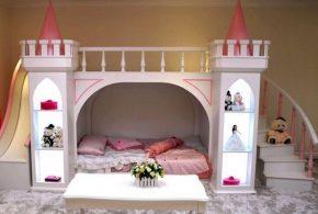 Детская в виде замка det88552 по индивидуальным размерам на заказ, материалы из лдсп мдф расцветка — розовый интернет магазине mebelblok.ru