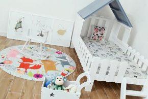 Детская в виде домика det88732 по индивидуальным размерам на заказ, материалы из массива дерева лдсп мдф расцветка — синий белый интернет магазине mebelblok.ru