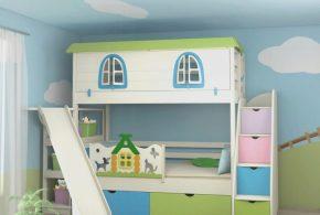 Детская в виде домика det40466 по индивидуальным размерам на заказ, материалы из лдсп мдф расцветка — голубой фиолетовый салатовый разноцвет белый розовый интернет магазине mebelblok.ru