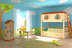 Детская в виде домика det65350 по индивидуальным размерам на заказ, материалы из лдсп мдф расцветка — коричневый бежевый интернет магазине mebelblok.ru