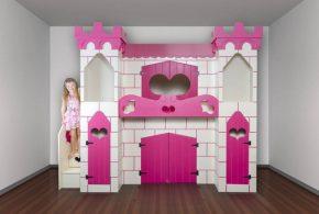 Детская в виде замка det18621 по индивидуальным размерам на заказ, материалы из лдсп мдф расцветка — белый розовый интернет магазине mebelblok.ru