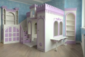 Детская в виде замка det56683 по индивидуальным размерам на заказ, материалы из лдсп мдф расцветка — фиолетовый бежевый интернет магазине mebelblok.ru