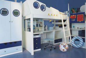 Детская в виде корабля det34102 по индивидуальным размерам на заказ, материалы из лдсп мдф расцветка — голубой синий белый интернет магазине mebelblok.ru