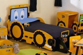 Детская в виде машинки det68884 по индивидуальным размерам на заказ, материалы из лдсп мдф расцветка — жёлтый голубой черный интернет магазине mebelblok.ru