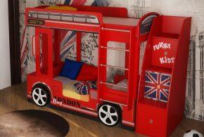 Детская в виде автобуса det24708 по индивидуальным размерам на заказ, материалы из лдсп мдф расцветка — красный разноцвет интернет магазине mebelblok.ru