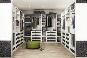 Гардеробная gar57845 по индивидуальным размерам на заказ, материалы из лдсп мдф расцветка — белый серый в интернет магазине mebelblok.ru