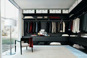 Гардеробная gar92950 по индивидуальным размерам на заказ, материалы из лдсп мдф расцветка — черный в интернет магазине mebelblok.ru