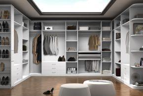 Гардеробная gar60825 по индивидуальным размерам на заказ, материалы из лдсп мдф расцветка — белый серый в интернет магазине mebelblok.ru