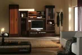 Гостинная gos90843 по индивидуальным размерам на заказ, материалы из лдсп мдф расцветка — коричневый в интернет магазине mebelblok.ru