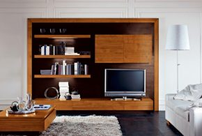 Гостинная gos50280 по индивидуальным размерам на заказ, материалы из массива дерева лдсп мдф расцветка — коричневый в интернет магазине mebelblok.ru