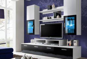 Гостинная gos88680 по индивидуальным размерам на заказ, материалы из лдсп мдф стекла эмали расцветка — черно-белый белый черный в интернет магазине mebelblok.ru
