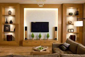 Гостинная gos21924 по индивидуальным размерам на заказ, материалы из массива дерева лдсп мдф расцветка — коричневый в интернет магазине mebelblok.ru