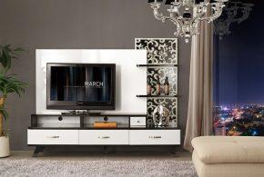 Гостинная gos43081 по индивидуальным размерам на заказ, материалы из лдсп мдф эмали расцветка — коричневый белый в интернет магазине mebelblok.ru