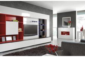 Гостинная gos24703 по индивидуальным размерам на заказ, материалы из лдсп мдф эмали расцветка — красный белый черный в интернет магазине mebelblok.ru