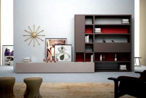 Гостинная gos37486 по индивидуальным размерам на заказ, материалы из лдсп мдф расцветка — красный коричневый серый в интернет магазине mebelblok.ru