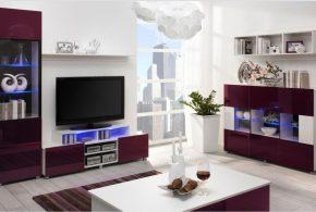Гостинная gos39360 по индивидуальным размерам на заказ, материалы из лдсп мдф эмали расцветка — бордовый белый в интернет магазине mebelblok.ru