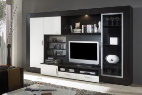 Гостинная gos68041 по индивидуальным размерам на заказ, материалы из лдсп мдф стекла эмали расцветка — черно-белый белый черный в интернет магазине mebelblok.ru