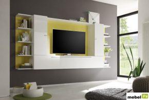 Гостинная gos97156 по индивидуальным размерам на заказ, материалы из лдсп мдф эмали расцветка — жёлтый белый в интернет магазине mebelblok.ru
