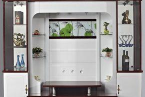 Гостинная gos21027 по индивидуальным размерам на заказ, материалы из лдсп мдф стекла расцветка — коричневый белый в интернет магазине mebelblok.ru