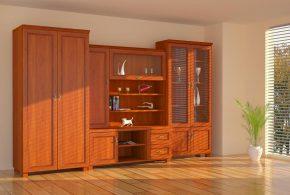 Гостинная gos51802 по индивидуальным размерам на заказ, материалы из массива дерева лдсп мдф стекла расцветка — коричневый в интернет магазине mebelblok.ru